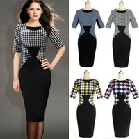 Wholesale Houndstooth Party Dress - New Women Elegant Vintage Houndstooth Colorblock Tunic Wear To Work Business Casual Party Bodycon Pencil Dress DK2218CG YZ