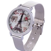 Wholesale Stainless Steel Made China - New 2016 China Made Fashion Eiffel Tower Pattern Wrist Watch Stainless Steel Wristwatches For Women and Men Best Gifts Free Shipping