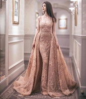 ünlü denizkızı gelinlik toptan satış-Vestido Tasarımcı Lüks Arapça Gelinlikler Ayrılabilir Tren Ile Mermaid Altın Kristal Boncuklu Dantel Tül Ünlü Elbiseleri