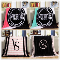 Wholesale Wholesale Pink Beach Towels - 4 Colors 130*150cm Pink Letter Blanket Soft Coral Velvet Beach Towel Blankets Air Conditioning Rugs Comfortable Carpet CCA7891 20pcs
