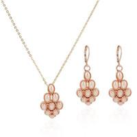 conjunto de joyas de perlas austriacas al por mayor-En Stock Chapado En Oro Rosa Cristalino Austríaco Joyas de Perlas Conjuntos Collar y Pendientes Mujer Joyas de Cristal Para Las Mujeres JS0082