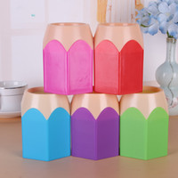 Wholesale makeup brush gift set - Cute POP Creative Pen Holder Vase Color Pencil Box Makeup Brush Stationery Desk Set Tidy Design Container Gift Storage Supplies
