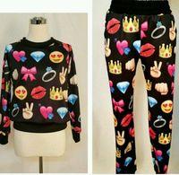 Wholesale Denim Hoodie Women - Personalized Cartoon Emoji Hoodie Hoody Sweatshirt Joggers Pants Casual Trousers Sports Running Gym Suits Tracksuits for Women