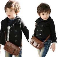 Wholesale Double Hood Jacket - boy double breasted jacket black coat boy small suit jacket coat long sleeve wool kids clothes children jacket free shipping in stock
