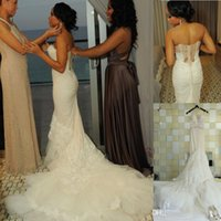 Wholesale Silk Satin Wedding Skirt - Luxury Court Train Mermaid Lace Wedding Dresses Sheer Back Corset See Boning Layered Bridal Dresses Sweetheart Beach Garden Wedding Gowns