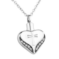 Wholesale Cremation Jewelry Cross - Cremation Jewelry Stainless Steel Waterproof Retro Cross Heart Urn Pendant Necklace Memorial Ash Keepsake with gift bag and chain