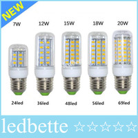 Wholesale Led Lumen - LED Light Warm White E27 LED Bulbs 7W 9W 12W 15W 18W 3000 Lumen Cree SMD 5730 With Cover 48 leds GU10 E14 B22 G9 Led lights Corn Lighting