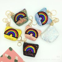 2018 New Sequin Children Mini Bags Coreano Rainbow Glitter sentiu Baby Girls Princesa zipper chaveiro pingente Kids C2726