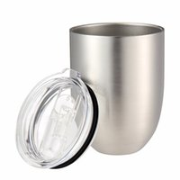 Wholesale double layer glass lid - 10oz Egg Cup Double Layer Stemless Mugs Powder Coated Stainless Steel Beer Wine Glasses Vacuum Insulated Cups with clear lids