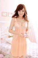 Wholesale Gs Underwear - w1023 sexy lingerie silk lace dress+gs tring 2pcs new set sleepwear costume underwear kimono