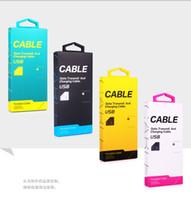 ingrosso cavi colorati del caricatore di iphone-2017 Cavo adattatore caricatore universale Micro USB Scatola di vendita al dettaglio di carta per iPhone 7 5S 6 6S plus Samsung S8 S6 edge S7 con maniglia