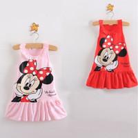 Wholesale Minnie Tank Top - Pink Red Baby Girls Dresses Minnie Cartoon Sleeveless Tank Tops Children's One-piece Dress Jumper