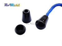 Wholesale cord stoppers wholesale - 100pcs Bell Stopper With Lid Cord Ends Lock Stopper Plastic Black Toggle Clip
