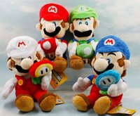 Wholesale Soft Toy Flowers - Super Mario Bros Plush 4 styles Mario and Luigi plush toy dolls with mushroom flowers Soft Toys free shipping