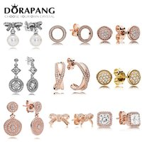 Wholesale diy stud bracelet for sale - Group buy DORAPANG Sterling Silver Earring Graceful Bow Knot White Pearl Earrings Timeless Elegance Fit Bracelet DIY Making
