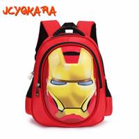 Wholesale kids school dress - JCYOKARA JC KIDS Boys 3D Iron Man Backpack Canvas Children School Backpack Baby Girls Boys Red Backpack Size 30*19*6cm