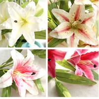 lindas flores de toque real venda por atacado-24 pcs belas flores para decoração de casamento 4 cores real sentimento flores real toque flor de lírio artificial