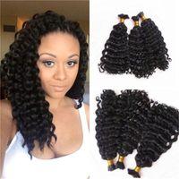 rizado cabello humano indio para trenzar al por mayor-Indian Human Hair Bulks 3 Bundles Indian Deep Curly Wave Pelo a granel para trenzar No hay accesorio FDshine HAIR