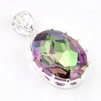 Wholesale 5 LuckyShine Best Price Oval Dazzling Rainbow Mystic Topaz Crystal Sterling Silver Wedding Pendants Russia American Australia