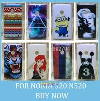 Gros-pour Nokia Lumia 520 N520 Case aztèques Lips Tour Eiffel Cas Tiger Galaxy Skull Marilyn Monroe Hard Cover Panda Cell Phone