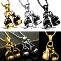 Wholesale glove necklace resale online - New Men pendant Necklace Fitness Fashion Alloy Workout Jewelry Gold Plated Pair Boxing Glove Charm Pendants Accessories Gift