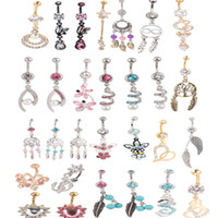 Wholesale Stainless Steel Body Piercing - dangle belly ring wholesales 20pcs mix style navel button piercing body jewelry barbell