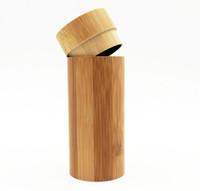 Wholesale Round Bamboo Box - 100 % Natural Bamboo Box Handmade Round Cylindrical Bamboo Wooden Sunglasses Box Bamboo Glasses Case 16.5*6.8*0.4cm