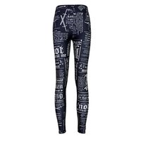 2017 NUEVO 3508 Game of Thrones Newpaper Daily Prints Sexy Girl Pencil Yoga Pantalones GYM Fitness Entrenamiento Poliéster Mujeres Leggings Más Tamaño