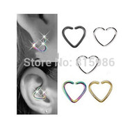 Wholesale Helix Mix - 40PCS Lot Mix 4 colors Stainless Steel Heart Shape Septum Piercing Nose Hoop Daith Helix Cartilage Lip Labret Piercing Ring