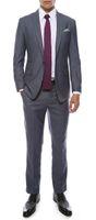 Wholesale mens grey pinstripe suit - Milano Mens Grey Slim Fit Groom Tuxedos 2016 New Groomsmen Mens Wedding Prom Suits Custom Made (Jacket+Pants+Tie+Vest) Custom Made
