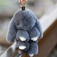 Wholesale Koala Ears - 18 cm plush koala key chain Fluffy rabbit girl backpack pendant Car to pendant The animal's tail ears free shipping