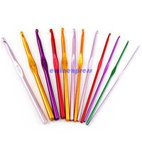 Wholesale Sewing Notions Tools - Hot Sale New Arrive Sewing Notions Tools 12 Multi Coloured Aluminium Crochet Needles Hooks 2mm-8mm Set Knitting Stitches