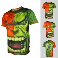 Wholesale Incredible New - 2015 New Arrival New Fashion The Incredible Hulk Face 3D Print Design Tshirt For Men With 100% Polyester Breathable Quick Dry And Anti-sweat