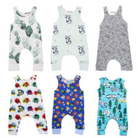 Wholesale newborn baby girl clothing - Baby Print Rompers Designs Boy Girls Cactus Forest Road Newborn Infant Baby Girls Boys Summer Clothes Jumpsuit Playsuits M