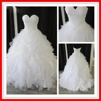 Wholesale Sweetheart Ruffled Taffeta - Custom Made Elegant Tiers Real Sample White Organza Sweetheart Ball Gown Chapel Empire Ruffles Beaded Wedding Dresses