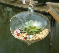 посадка лука оптовых-Подвесные стеклянные держатели растений воздуха, лук форма висит террариум плантатор ваза для украшения дома, украшение сада, зеленые подарки
