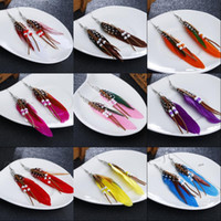Feather Earrings Bohemia Style Womens Beads Pendurado Drop Peacock Feather Earrings 10 Color Jewelry Gift Vintage Bohemia Mulheres D118S