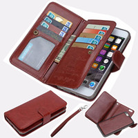 Wholesale iphone6 plus case leather online - For iphone S Plus Cards Slots Flip Wallet Leather Case With Magnet Detachable Removable in1 Magnetic Cover For iphone6 Plus