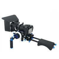 Wholesale Rig Follow Focus Kit - Free DHL DSLR Rig Movie Kit Matte Box + Follow Focus + 15mm Rod Spport Plate + Handle + Shouder Mount Pad For Video Camera 5D II III