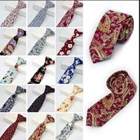 Wholesale mens skinny necktie for sale - Group buy Mens Tie Wedding New Fashion Party Floral Cotton Skinny Necktie Neckwear Skinny Ties Casual Narrow Cotton Neckties KKA3313