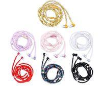 mejores auriculares bluetooth rosa al por mayor-Rhinestone de lujo de la joyería collar de perlas auriculares con micrófono Pink Girl Earbuds auriculares para Iphone Huawei XiaoMi mejor Girft a44