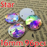 Wholesale Shiny Flat Stones - Wholesale-New Item 96pcs box 16mm Crystal Clear AB Round Star Sew on stone crystal super shiny Flat Back rhinestone