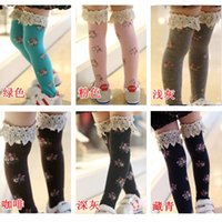 Wholesale Sweet Cotton Socks - 2014 winter baby girls fashion socks sweet lace floral socks high socks korean style princess socks children socks LZ0003