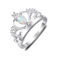 Wholesale Fire Opal Rings Wholesale - 10 Pieces 1 lot Nice Classic Shine White Fire Opal Gems 925 Sterling Silver Crown Rings Russia American Australia Weddings Rings Gift