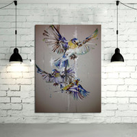 Wholesale Brother Art - Handmade Modern Abstract Decorative The Blue Birds Three Brothers Oil Painting On Canvas Wall Art For Living Room As Unique Gift