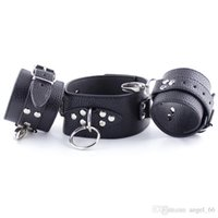 Wholesale Leather Sex Suits - Top Quality Slave Collar Handcuffs BDSM Leather Bondage Arm Restraints Bondage Cuffs SM Female Sex Toys Dog Slave Bondage Suit For Couples