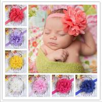 schäbige schicke haarzusätze großhandel-Baby Mädchen Stirnband Neugeborenen Stirnbänder Shabby Chic Blume Haarband Spitze Stirnband Haarschmuck