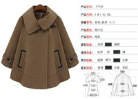 Wholesale Camel Poncho Coat - Wholesale-new 2015 fashion Batwing Wool Casual Poncho for Women Winter Coat Jacket Loose Cloak Cape camel Outwear