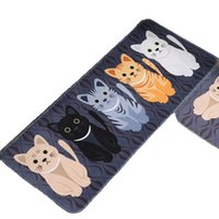 banyo makbuzu toptan satış-Kawaii Welcome Floor Mats Animal Cat Printed Bathroom Kitchen Carpets Doormats Cat Floor Mat for Living Room Anti-Slip Tapete