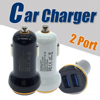 Wholesale Mini Usb Car Charge - 5V 2A Dual Port Mini USB Car Charger Quick Charge Car-charger for iPhone 7 6 6s 5s 5 Samsung Xiaomi HTC Huawei